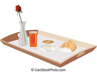 desayuno, servicio, con, bandeja de madera