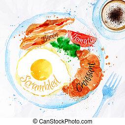 desayuno, tocino, huevos, acuarelas