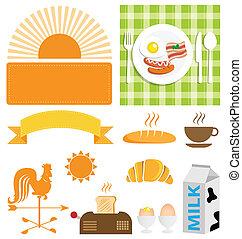 desayuno, vector, conjunto, icono