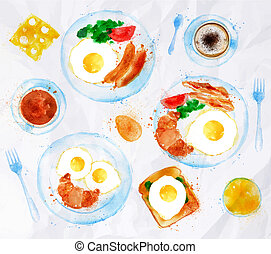 desayunos, acuarela, huevos, conjunto