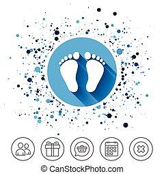 descalzo, señal, par, niño, huella, icon.