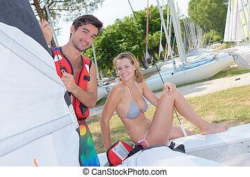 descansar, após, recreacional, sailboat, experiência
