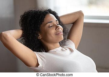 descansar, cabeça, mulher, atrás de, dentro, pôr, raça,...