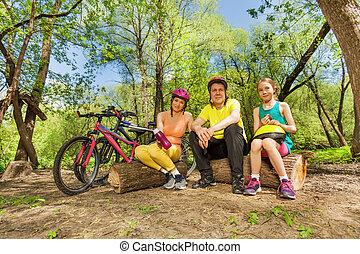 descansar, ciclismo, log, família, após, ativo
