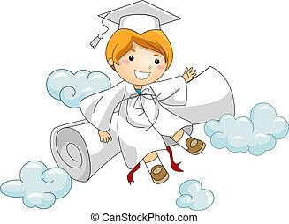 descansar, diploma, contra, criança