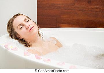 descansar, en, un, baño