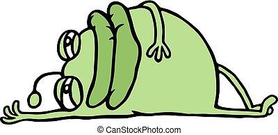 descansar, germen, abajo, verde, caricatura, acostado