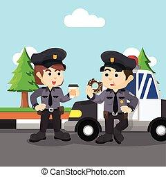 descansar, hombres, policía, mujeres