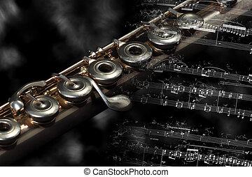 descansar, instrumento música, plata, raya, flauta, ...