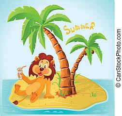 descansar, león, caricatura, isla