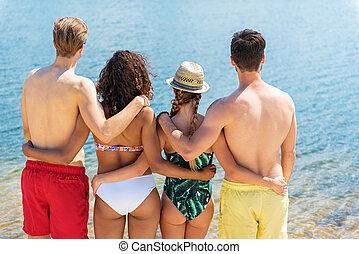 descansar, meninas, meninos, biquíni, praia, jovem