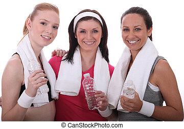 descansar, mujeres, después, tres, condición física