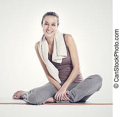 descansar, mulher, após, jovem, roupa aptidão, exercício