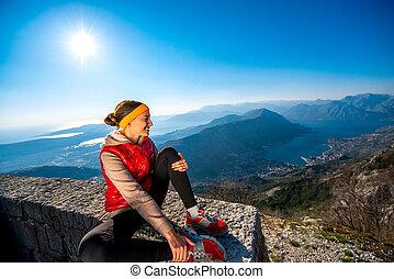 descansar, mulher, desporto, montanha
