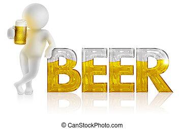 descansar, palabra, cántaro, cerveza, 3d, hombre
