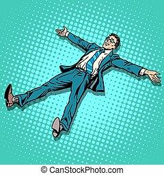 descansar, piernas extendieron, brazos, hombre de negocios