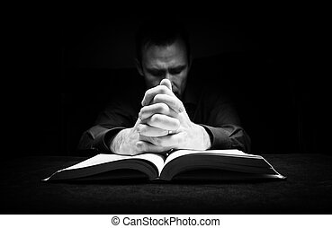 descansar, seu, deus, mãos, bible., orando, homem