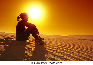 descansar, sportswoman, topo, duna areia