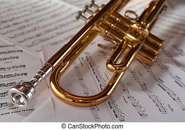 descansar, trompete, música, fundo, contagens
