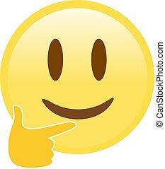 descansar, vetorial, ou, pensando, dedo, amarela, seu, pondering, rosto, queixo, pensamento, profundo, índice