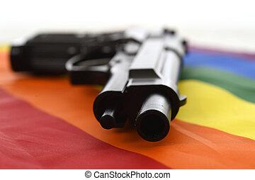 Descansar, vida, desfile, alegre,  intolerance, discriminación, Arriba, arma de fuego, bandera, cierre, todavía, Representar,  sexual