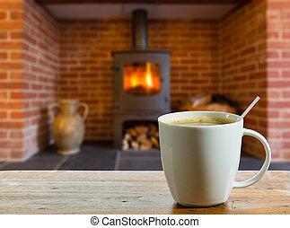 descanso para tomar café, por, madera, abrasador, fuego