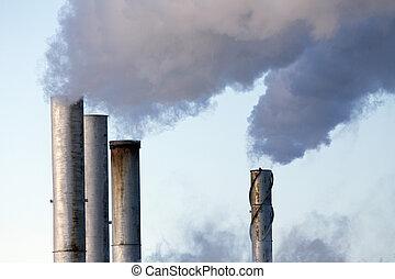 descarga, indústria, poluição