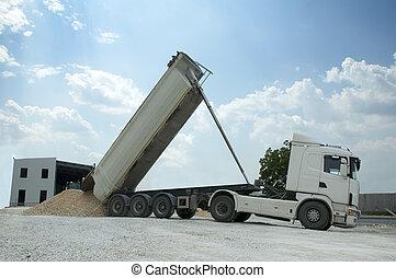 descargar, camión, rocas