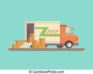descargar, carga, o, carro de entrega