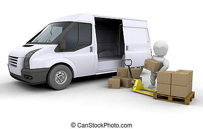descargar, un, furgoneta
