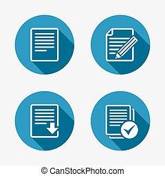 descargue, archivo, documento, icons., checkbox.
