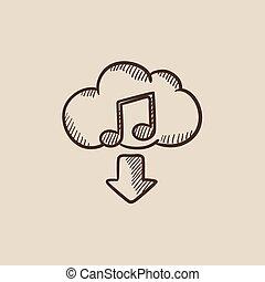 descargue, bosquejo, música, icon.