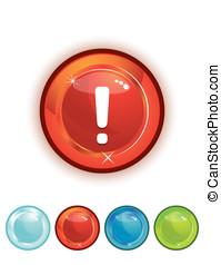 descargue, botón, rojo