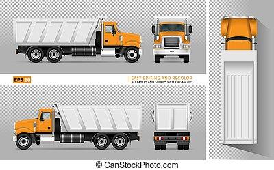 descargue camión, vector