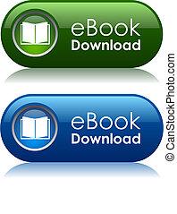 descargue, ebook, iconos