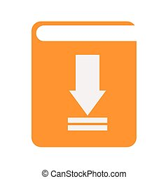 descargue, libro, electrónico, icono