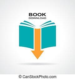 descargue, libro, icono