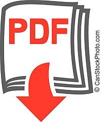 descargue, pdf, archivo, icono
