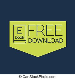descargue, plano, ebook, libre, icono