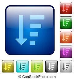 descendendo, mandado, lista, modo, cor, quadrado, botões