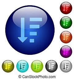 descendendo, mandado, lista, modo, cor, vidro, botões