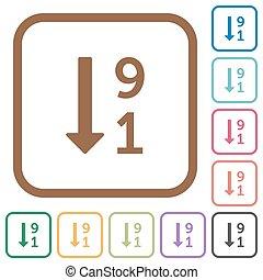 descendendo, numerado, lista, ícones simples