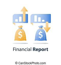 Financial debt increase, investment fund loss, unexpected market drop, income decrease, lower revenue, asset bad performance, portfolio devaluation, descending chart, money wast, vector icon