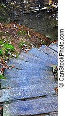 Descending Wooden Steps at Natural Bridge