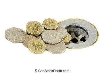 descendre, argent, drain