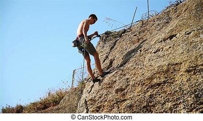 descendre, grimpeur, falaise