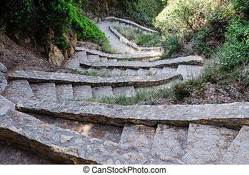 descendre, pierre, étapes
