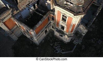 Descent along the walls of the ruins of Tartakivsky castle, Lviv region, Ukraine. Palace of Potocki, Lanzkronronski
