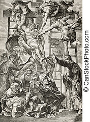 Descent from the cross - Old engraved reproduction of...