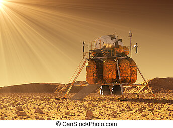 Descent Module Of Interplanetary Space Station In The Rays Of Martian Sun